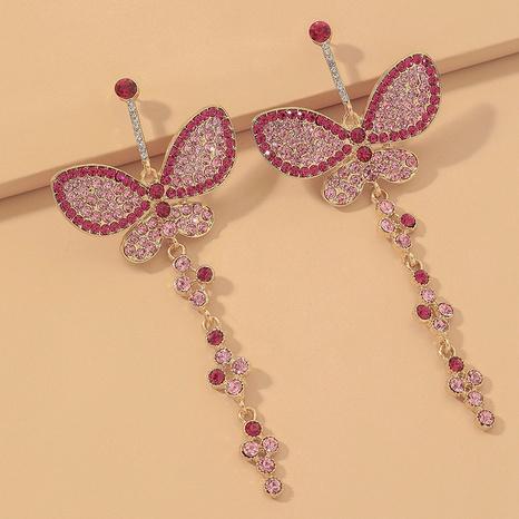 Mode rosa Strass Schmetterling lange Ohrringe NHNJ331702's discount tags
