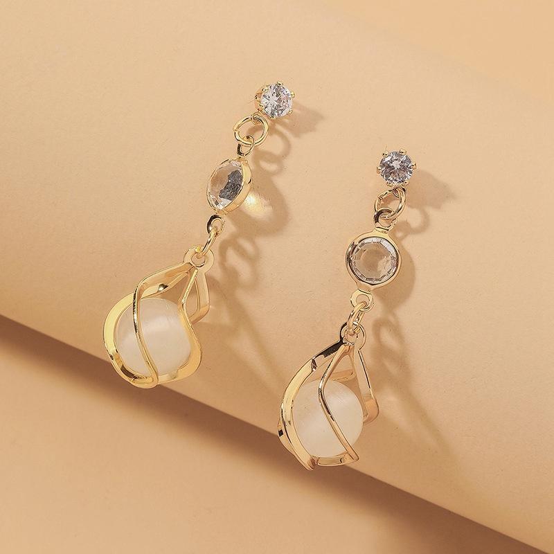 Korean rhinestone opal ball long earrings NHNJ331705