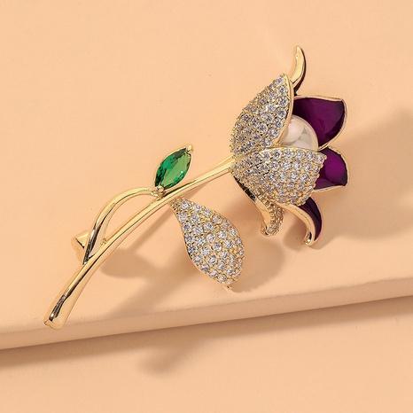 broche de perles de fleur rose de diamant de mode NHNJ331751's discount tags
