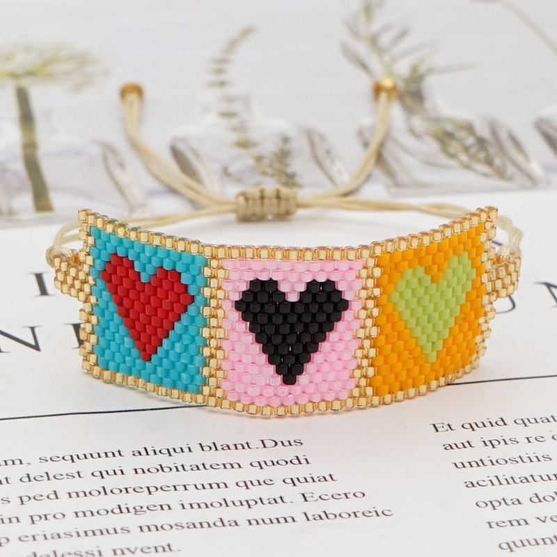 Bracelet en perles Miyuki en forme de coeur bohme de couleur contraste NHGW331822