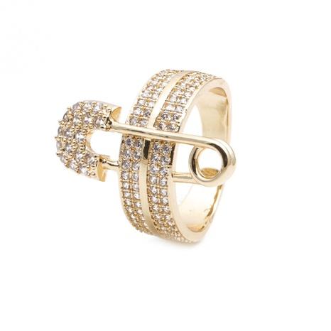 anneau d'ouverture de trombone en zircon incrusté de mode NHYL331832's discount tags