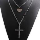 Fashion Titanium Steel Rhinestone Cross HeartShape Necklace Set NHYL331839
