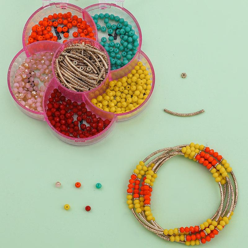 6 grid rose flower bracelet necklace beaded material box NHLL331898