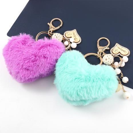 Korean alloy diamond heart-shaped hair ball keychain NHJE331905's discount tags