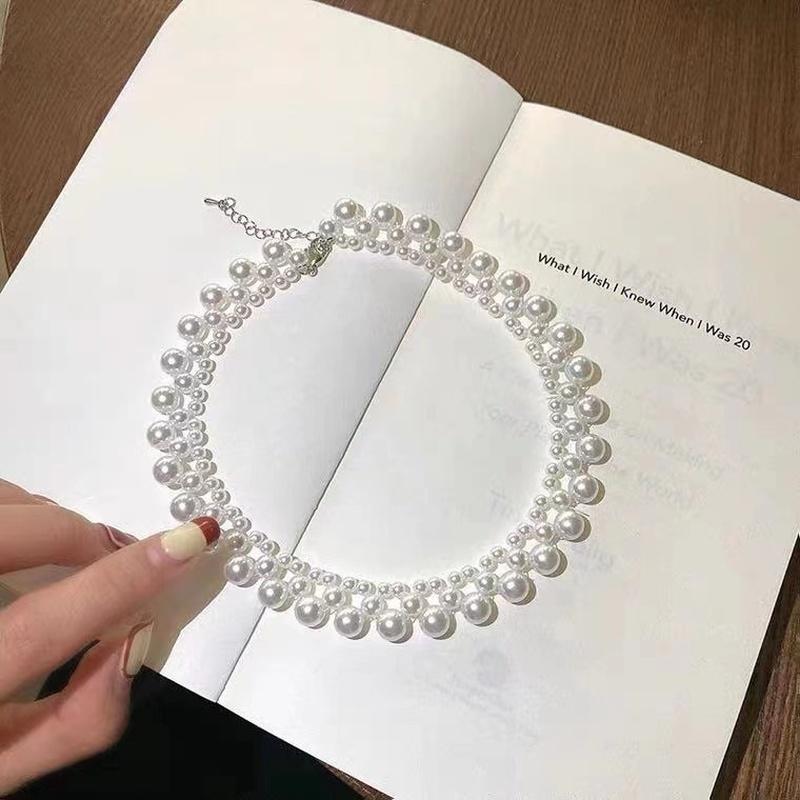 retro pearl short necklace NHYQ331459