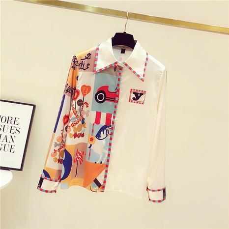 blouse à manches longues en mousseline imprimée à la mode NHZN332080's discount tags