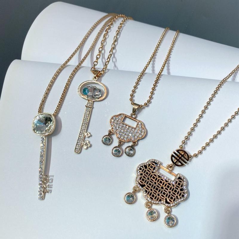 Fashion diamond key long tassel sweater chain NHFS331954