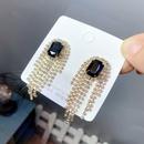 fashion full diamond long tassel earrings  NHFS331958