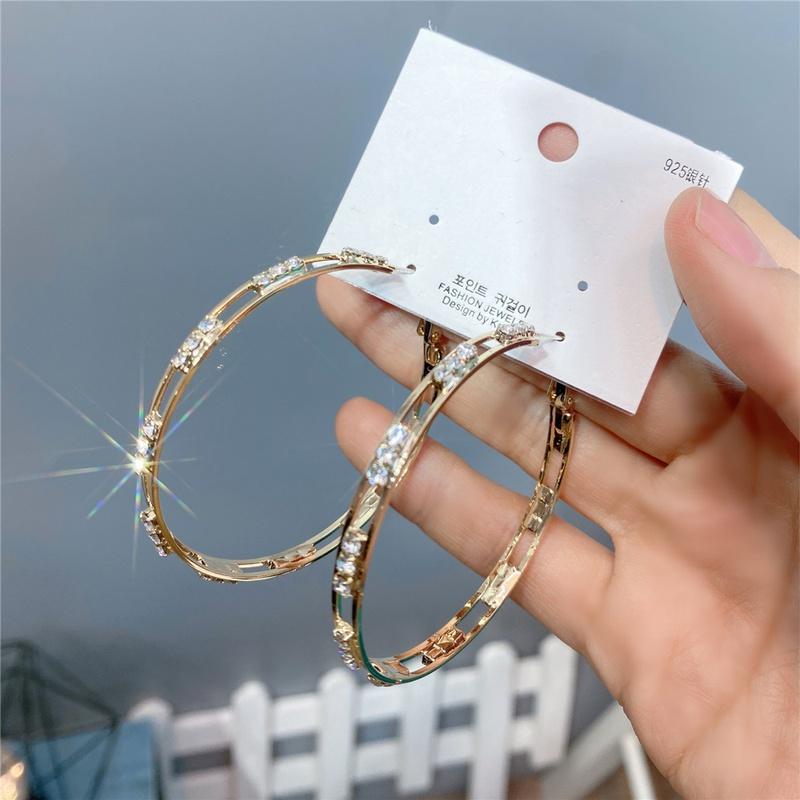 fashion diamondstudded golden big circle earrings   NHFS331966