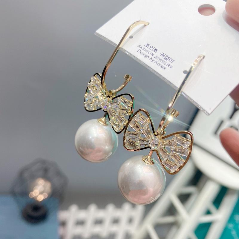 Korean Bowknot Pearl Earrings  NHFS331977