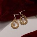Retro hollow drop natural pearl earrings NHAQ332003