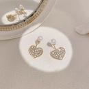 Korea heartshape pearl rhinestone earrings NHAQ332001