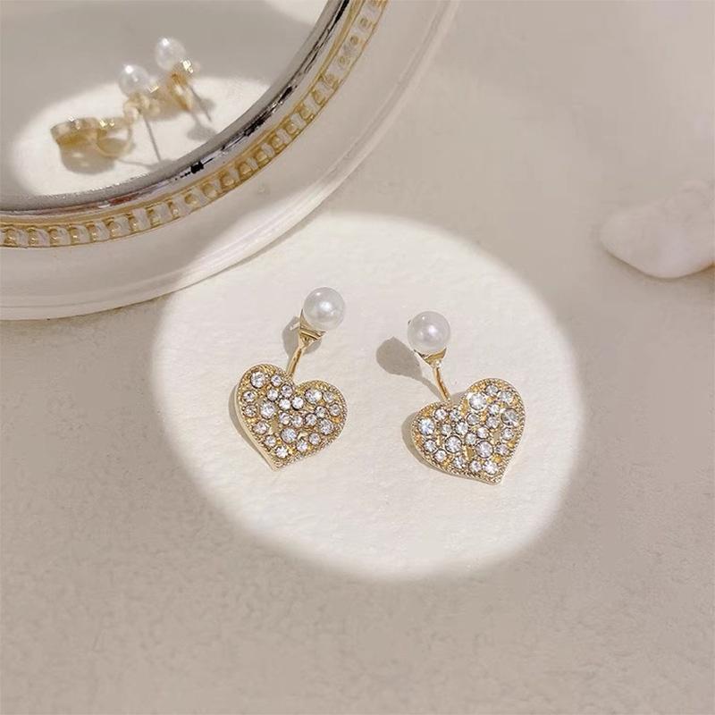 Korea heart-shape pearl rhinestone earrings NHAQ332001
