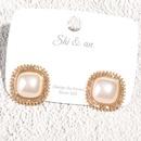 Korea Square Pearl Diamond Earrings Wholesale NHAQ332011