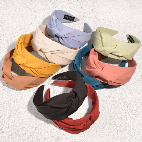 retro solid color knotted fabric headband  NHAQ332012's discount tags