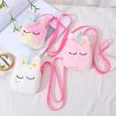 Korean colorful plush unicorn childrens messenger bag  NHAE332211