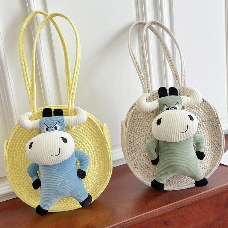 Fashion straw shoulder round bag wholesale NHTG332318