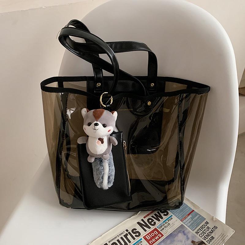 Fashion large-capacity transparent shoulder portable bag NHTG332323