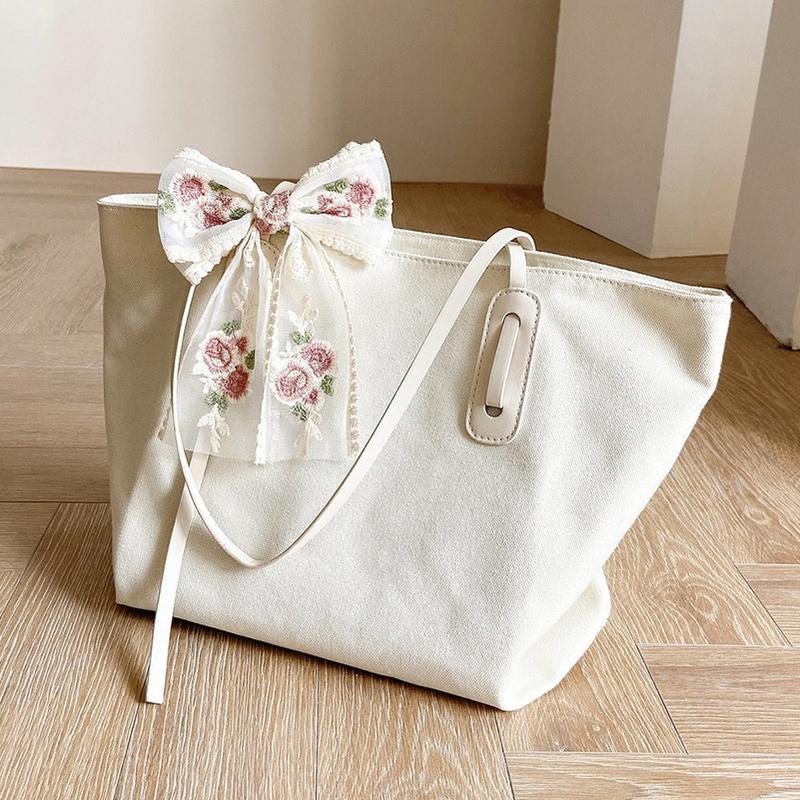 Fashion bows shoulder canvas bag NHTG332326