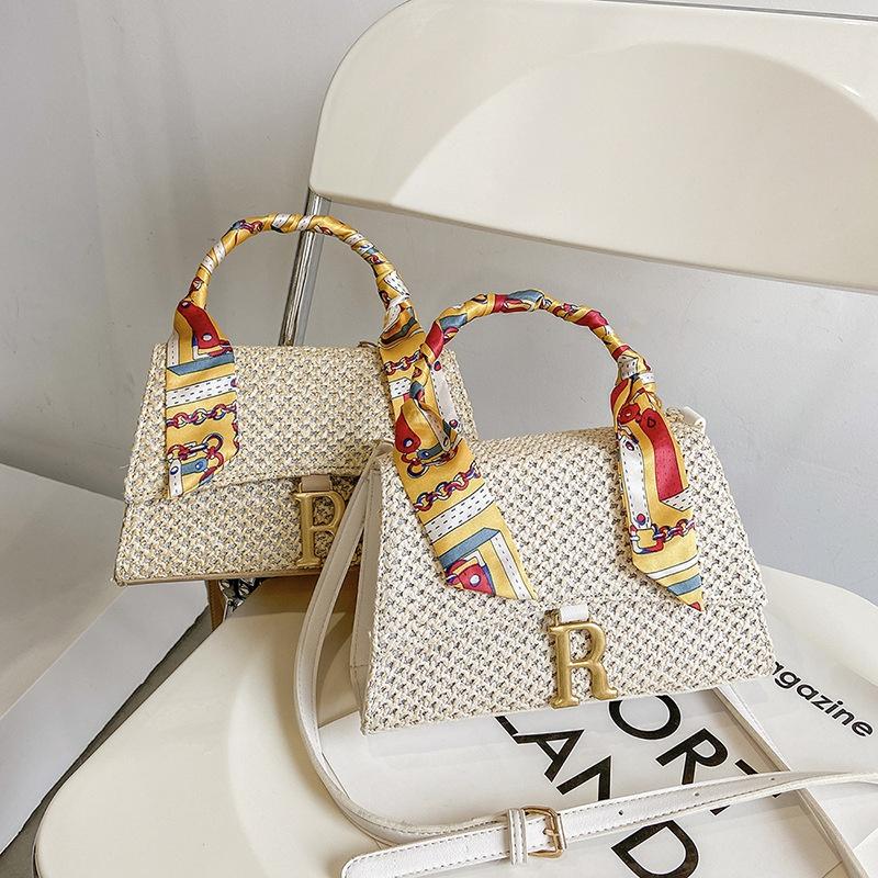 Fashion messenger shoulder square straw bag NHTG332331