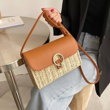Fashion rattan woven messenger shoulder bag NHTG332336's discount tags
