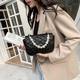 Fashion rhombic pearl chain messenger square bag NHTG332342