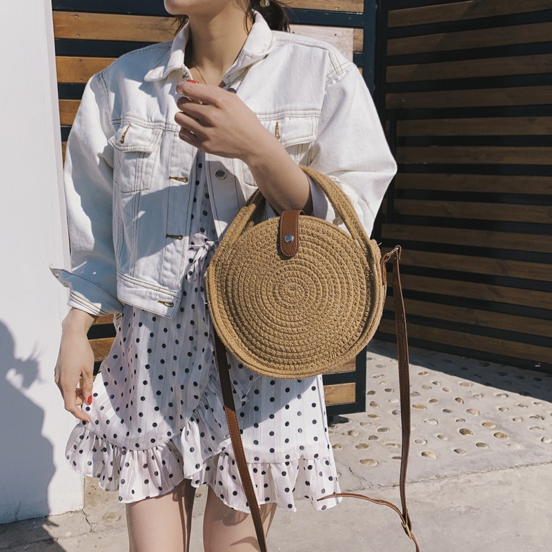 Fashion hemp rope round straw woven shoulder bag NHTG332346