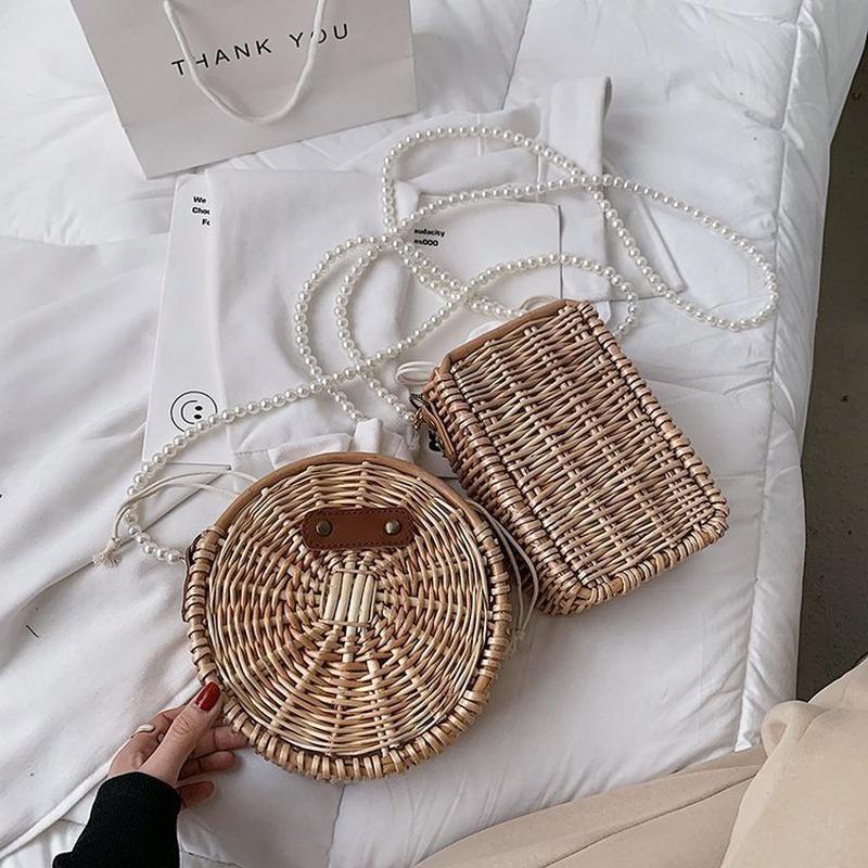 Fashion pearl rattan messenger portable bag NHTG332353