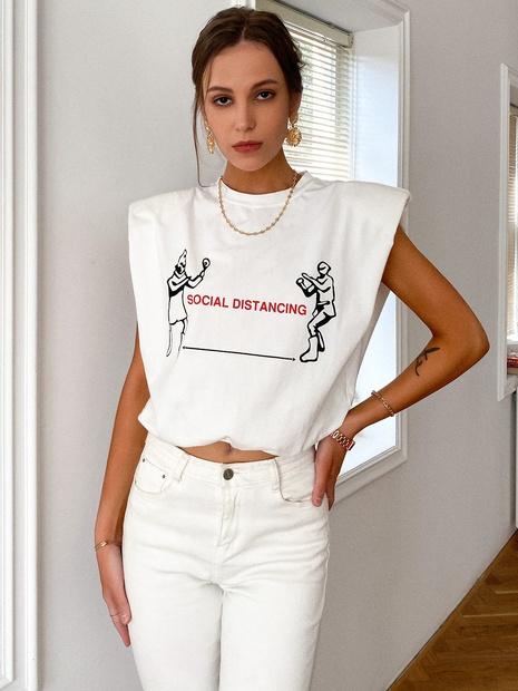 T-shirt court en coton blanc à imprimé lettre NHDE332496's discount tags