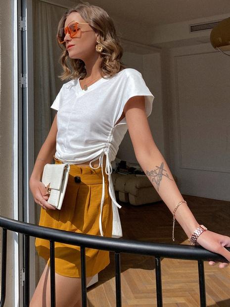 T-shirt en coton blanc avec lien de serrage NHDE332497's discount tags