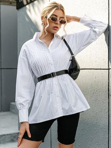 Blouse blanche d'été en coton uni NHDE332514's discount tags