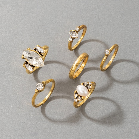 Fashion gold-plated pearl rhinestone 6-piece rings set  NHGY332545's discount tags