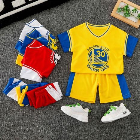 T-shirt et short de basket-ball numérique pour enfants de 90 à 140 cm NHWU332680's discount tags