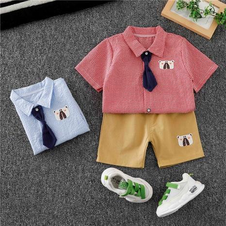 Dessin animé animal ours cravate chemise shorts enfants 80-120cm en gros NHWU332678's discount tags