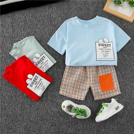 Letter Eyes T-shirt à carreaux shorts pour enfants de 80 à 120 cm en gros NHWU332677's discount tags