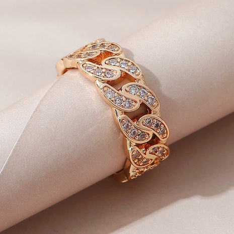 fashion wild gold chain copper open ring NHPS332524's discount tags