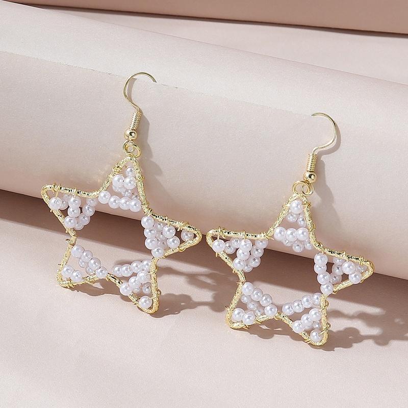 creative popular all-match hollow five-star pearl earrings NHPS332534