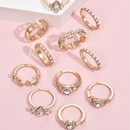 Fashion geometric full diamond womens ring set NHAJ332578