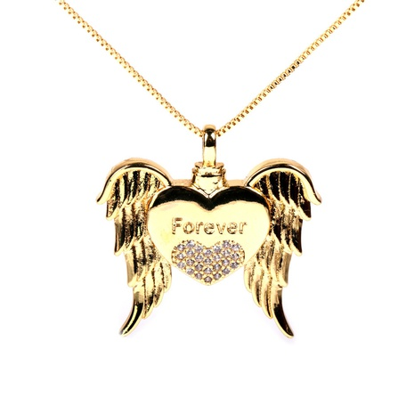 Fashion copper inlaid diamond angel wings necklace NHPY332599's discount tags