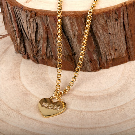 Fashion heart-shape copper inlaid zircon necklace wholesale NHPY332600's discount tags