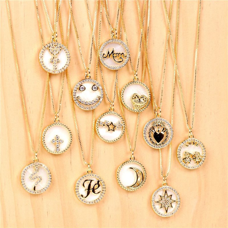 Fashion round shell letter mom copper necklace NHPY332602