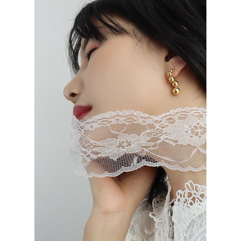 Simple specialshaped small steel ball titanium steel earrings NHOK332625