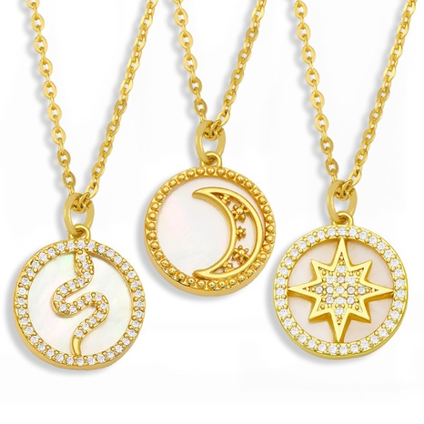 Fashion moon star copper zircon necklace wholesale NHAS332630's discount tags