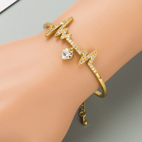 Fashion heart-shaped zircon copper bracelet wholesale NHLN332644's discount tags