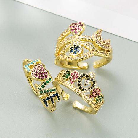 fashion copper micro-inlaid color zircon ring NHLN332646's discount tags