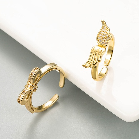 new fashion copper zircon angel wing open ring NHLN332650's discount tags