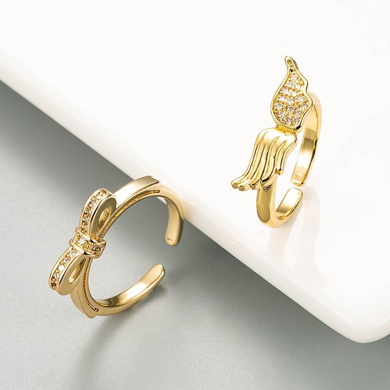 new fashion copper zircon angel wing open ring NHLN332650