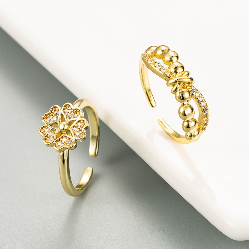 creative bowknot flower-shaped open copper ring NHLN332651