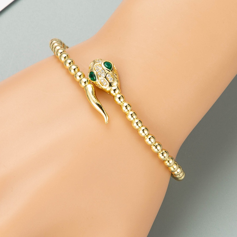 Fashion snake-shaped copper zircon bracelet NHLN332655