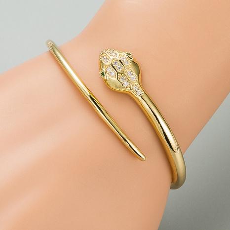 Fashion snake copper zircon open bracelet NHLN332656's discount tags
